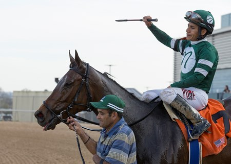 Martini Glass and Paco Lopez after winning the Azeri at Oaklawn Park on March 17, 2018.