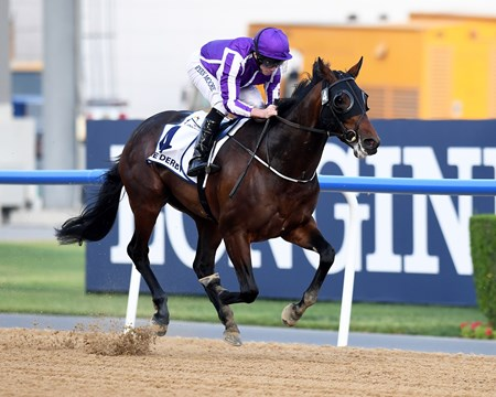 Mendelssohn, Ryan Moore win the UAE Derby , DWC 2018, Meydan Race Course, Dubai, UAE, 3-31-18
