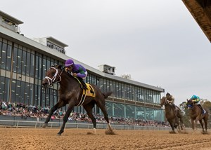 Magnum Moon draws off to win the Rebel Stakes at Oaklawn Park