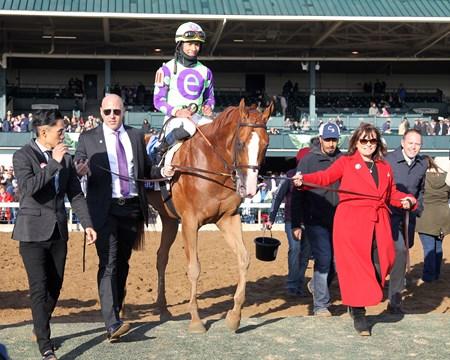 Good Magic with Jose Ortiz up wins the 2018 Toyota Bluegrass  for owner Robert Edwards and Barbara Banke and trainer Chad Brown,  2018 Keeneland Spring Meet