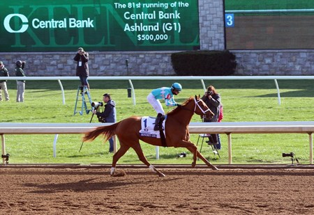 Monomoy Girl with Florent Geroux up wins the 2018 Central Bank Ashland  for owners Monomoy Group, Michael Dubb, Elkstone Group, Bethlehem Stables, and trainerBrad Cox,  2018 Keeneland Spring Meet