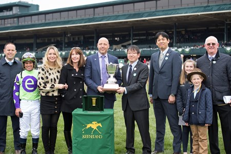 l-r, Chad Brown, Castellano, Bob Edwards holding tropy with JRA reps Takahiro Uno and Ryota Sensui, and Mike Ryan on right. Rushing Fall with Javier Castellano wins JRA Appalachian (G2) at Keeneland on April 8, 2018 Keeneland in Lexington, Ky.