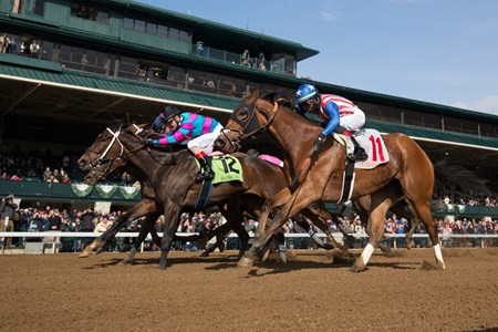 Finley'sluckycharm with Brian Hernandez, Jr. up wins the Madison (G1) at Keeneland on April 7, 2018 Keeneland in Lexington, Ky.