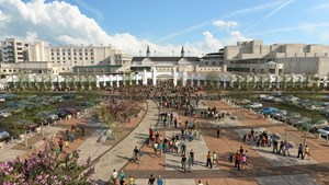 An artist's rendering of the new access to Churchill Downs.