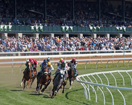 Race 4, turf, Racing scenes at Keeneland on April 12, 2018 Keeneland in Lexington, Ky.