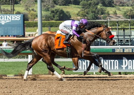 Reddam Racing's B Squared and jockey Mario Gutierrez, outside, overpower Tough Sunday (Joseph Talamo), inside, to win the $100,000 Thor's Echo Handicap, Saturday, April 14, 2018 at Santa Anita Park, Arcadia CA.