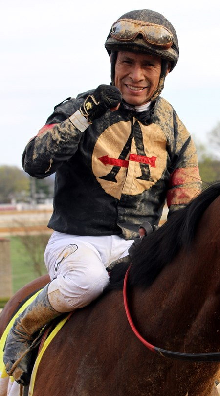 Edgar Prado celebrates after winning the 10th Running of the Charles Town Classic (G2) on Something Awesome at Charles Town on April 21, 2018.