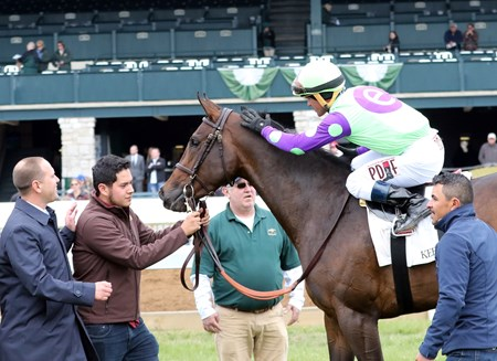 Rushing Fall with Javier Castellano up wins the 2018 Appalachian for trainer Chad Brown and owner E Five Racing, Robert Edwards, 2018 Keeneland Spring Meet