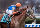 Vino Rosso wins the Wood Memorial April 7 at Aqueduct