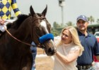 Owner Jill Baffert with Dr. Dorr after his win in the Californian Stakes at Santa Anita