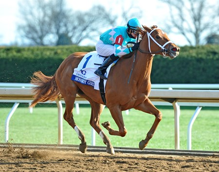 Monomoy Girl, Florent Geroux up, wins the Gr.1 Ashland Stakes at Keeneland