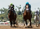 Bobby Abu Dhabi (inside) holds off Ransom the Moon to win the Kona Gold Stakes at Santa Anita Park