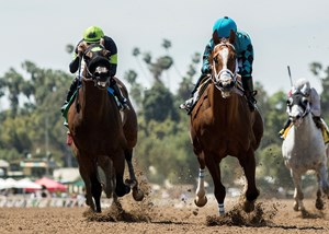 Bobby Abu Dhabi holds off Ransom the Moon to win the Kona Gold Stakes at Santa Anita