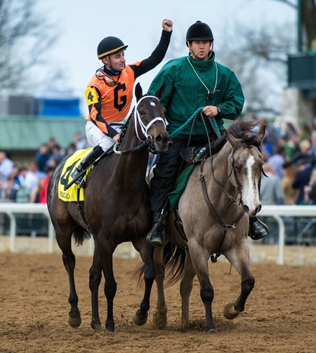 Triple Chelsea with Adam Beschizza up wins the Giant's Causeway Stakes at Keeneland in Lexington, Kentucky on April 14th, 2018
