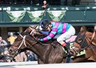 Finley'sluckycharm gets her head in front at the wire in the Madison Stakes at Keeneland