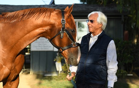 Trainer Bob Baffert with Justify at Santa Anita