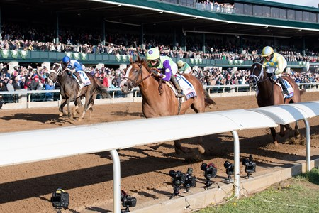 Good Magic with Jose Ortiz up wins the Toyota Blue Grass (G2) at Keeneland on April 7, 2018 Keeneland in Lexington, Ky.