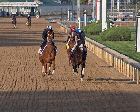 Monomoy Girl, left, works. Morning scenes at Churchill Downs on April 28, 2018 Churchill Downs in Louisville, Ky.