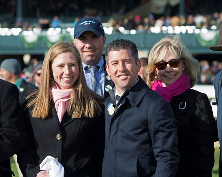 Liz Crow (left) with Bradley Weisbord after Monomoy Girl won the Ashland at Keeneland
