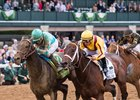 My Boy Jack (outside) gets up late to win the Lexington Stakes over Telekinesis at Keeneland