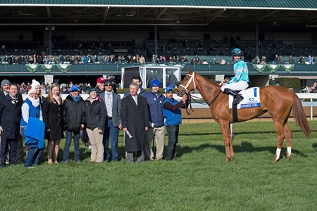 Winner Circle. Monomoy Girl with Florent Geroux up wins the Central Bank Ashland (G1) at Keeneland on April 7, 2018 Keeneland in Lexington, Ky.