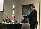 Eric Hamelback (left) addresses panel members Tom DiPasquale, Matt Iuliano, and Ed Martin at the ARCI conference April 4