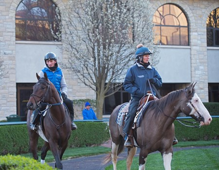 Rodolphe Brisset on Quip with stable pony Jonas and his wife Brooke Baker Brisset Morning works, gallops and training scenes at Keeneland in Lexington, Ky. April 5, 2018 Keeneland in Lexington, Kentucky.