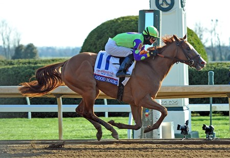 Good Magic, Jose Ortiz up, wins the Gr.2 bluegrass Stakes at Keeneland