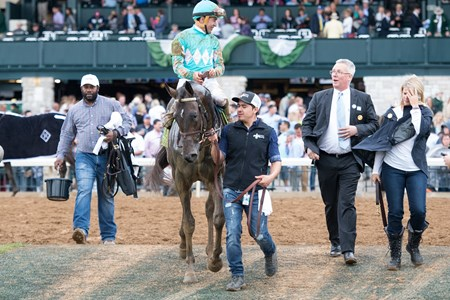 My Boy Jack with Kent Desormeaux up wins the Stonestreet Lexington (G3) at Keeneland on April 14, 2018 Keeneland in Lexington, Ky.