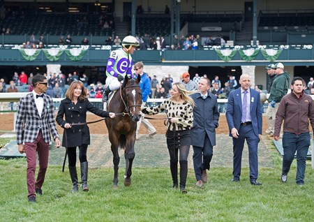 Rushing Fall with Javier Castellano wins JRA Appalachian (G2) at Keeneland on April 8, 2018 Keeneland in Lexington, Ky.