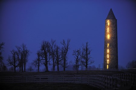 ILLUMINATING: The tower at Castleton Lyons near Lexington was aglow after the farm's Gio Ponti took home two Eclipse Awards Jan. 18.
