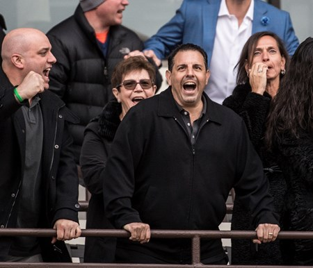 Owner Mike Repole, center cheers on Vino Rosso with jockey John Velazquez wins the 94th running of The Wood Memorial at Aqueduct Saturday April 7, 2018 in Ozone Park, N.Y.