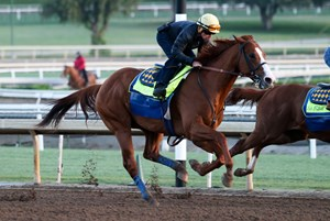 Justify works six furlongs in in 1:13 flat April 21 at Santa Anita Park