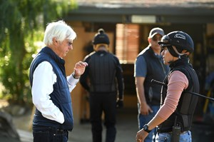 Trainer Bob Baffert during early morning workouts at Santa Anita