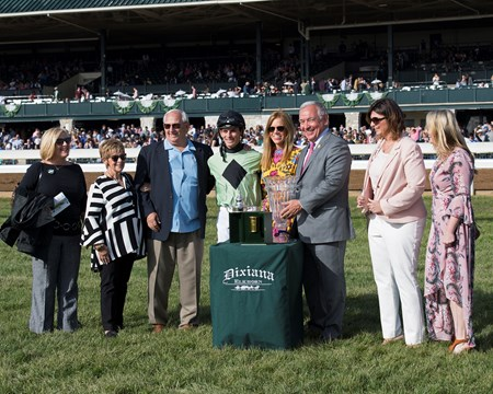 Trainer Dickey (third left), One Go All Go with Chris Landeros wins Dixiania Elkhorn (G2) at Keeneland on Dec. 31, 2015 Keeneland in Lexington, Ky.
