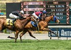 Queen Blossom and jockey Flavien Prat win the Santa Barbara Stakes