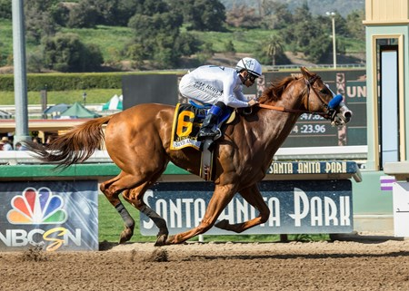 Justify and Mike Smith win the G1, $1,000,000 Santa Anita Derby Saturday, April 7, 2018 at Santa Anita Park, Arcadia, CA.