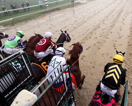 The start of the Preakness Stakes at Pimlico on May 19, 2018