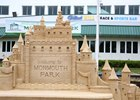 A sand castle in front of the William Hill Sports Book at Monmouth Park