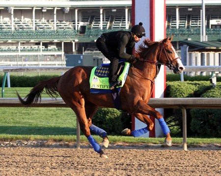 Justify on the track at Churchill Downs on May 1, 2018