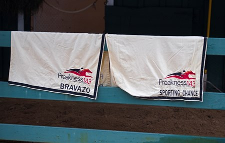 Bravazo and Sporting Chance Preakness blankets at Pimlico barn.
