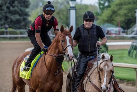 Justify goes out for his morning exercise at Churchill Downs Wednesday May 2, 2018