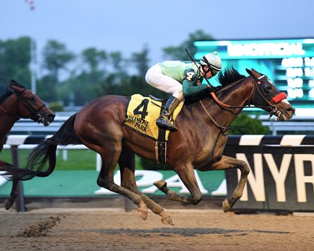 Blended Citizen wins the Peter Pan Stakes at Belmont Park