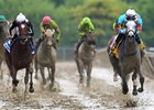 Red Ruby (inside) wins the Black-Eyed Susan Stakes by 4 3/4 lengths at Pimlico Race Course