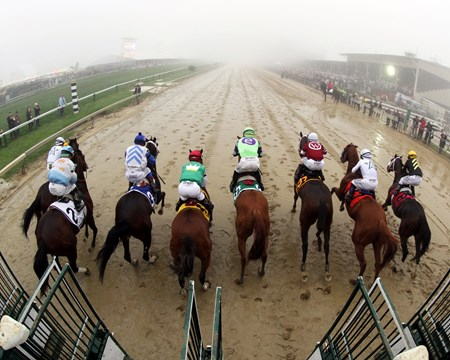 The start of the Preakness at Pimlico on May 19, 2018