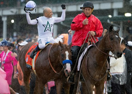 Justify and Mike Smith after winning the Kentucky Derby today at Churchill Downs on May 5, 2018.