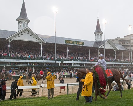 Justify with Mike Smith wins the Kentucky Derby (G1) on May 5, 2018 Churchill Downs in Louisville, Ky.