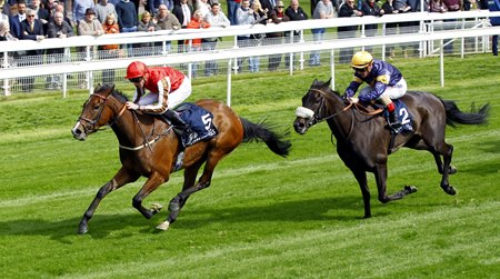 Give And Take gets by Dancing Brave Bear to win the Musidora at York