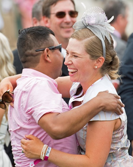 Liz Crow and Jorje Abrego. Monomoy Girl with Florent Geroux wins the Kentucky Oaks(G1) on May 4, 2018 Churchill Downs in Louisville, Ky.