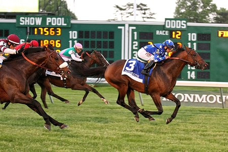 Money Multiplier #3 with Joe Bravo riding won the $200,000 Grade II Monmouth Stakes at Monmouth Park in Oceanport, New Jersey on Saturday May 26, 2018.